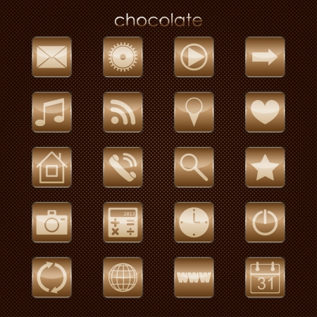 chocolate set of buttons for applications. eps10 Vector