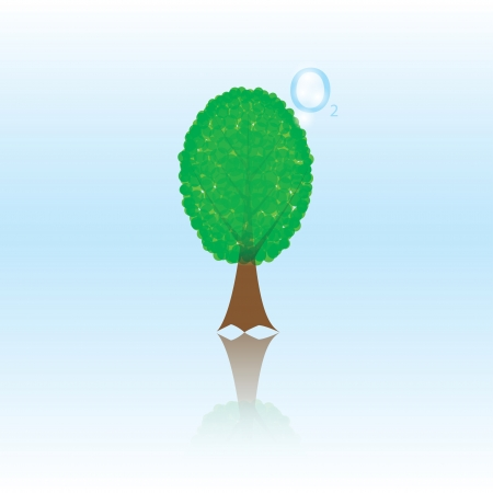 photosynthesis: photosynthesis. illustration of tree releases oxygen