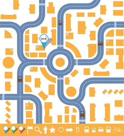 road map: infographics city map.