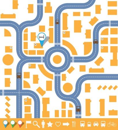 infographics plattegrond van de stad.