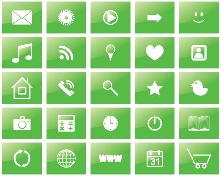 green eco set of rectangular media icons for applications. Stock Vector - 18544701