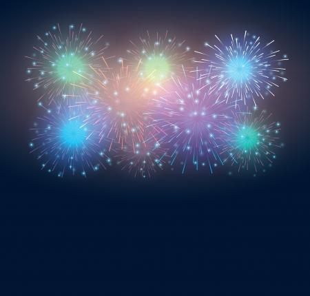 set festive fireworks in the dark sky. vector background eps10 Stock Vector - 18593847