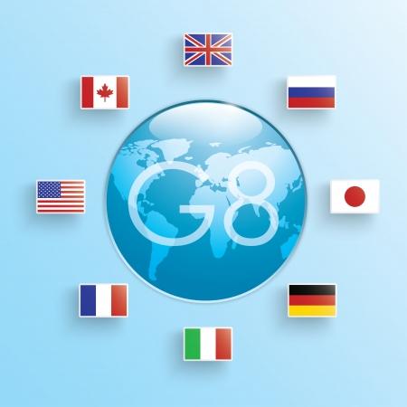 vlaggen van de acht staten. symbool groep van acht. Vectoreps10