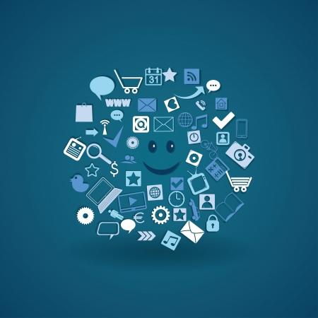 cloud media. social media elements. vector eps10 Stock Vector - 18593854