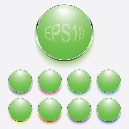 digital green buttons for applications with neon lighting. For light background.eps10 Vector