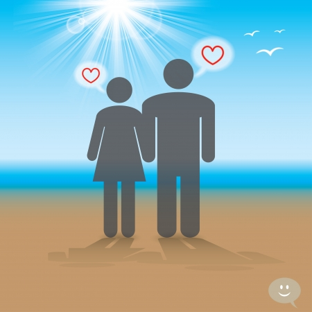loving couple at the seaside Stock Vector - 18819935