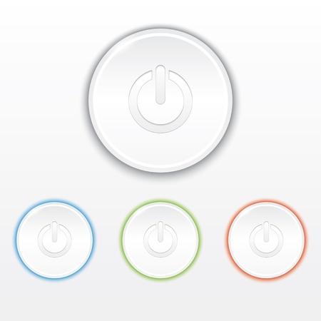 fondo luminoso: conjunto de botones de encendido con luz de fondo