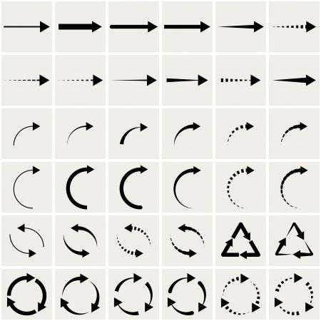 flecha derecha: conjunto de flechas negras