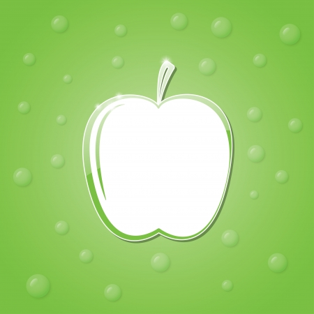 school frame: icon of an apple on a green background