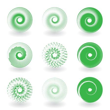 spirale: Satz von Runde abstrakte Ikonen Illustration