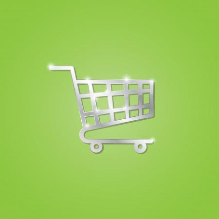 silver shopping basket Vector