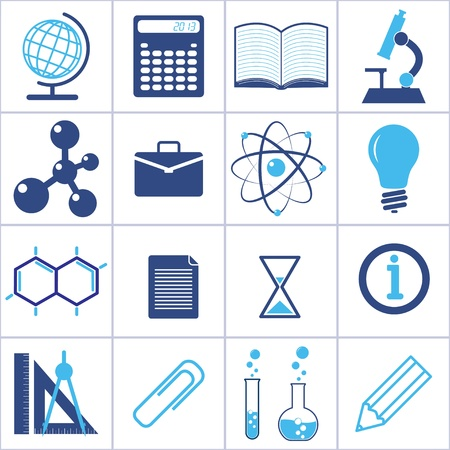 beaker: Iconos de la ciencia y la educación.