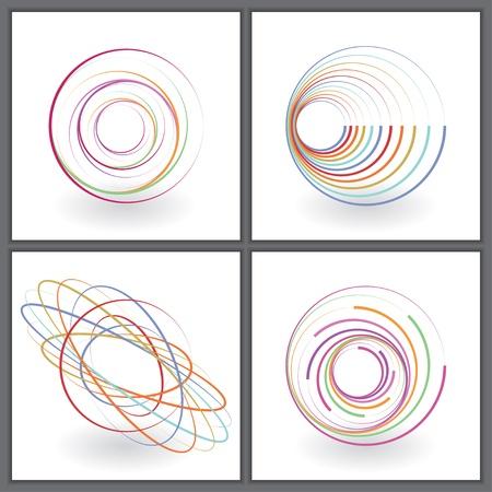esfera: conjunto de ícones coloridos abstratos. Ilustração