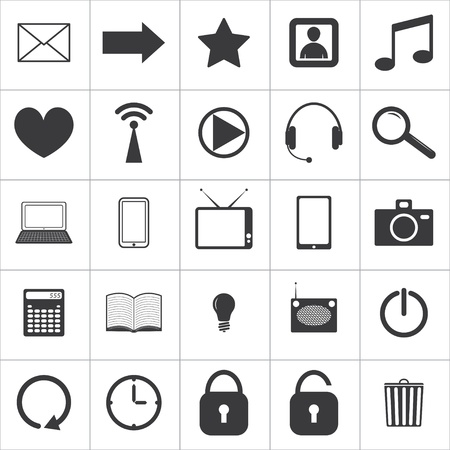 home button: set of 25 media icons.