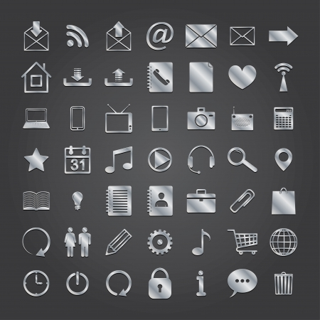 set of 50 metal media icons.  Illustration