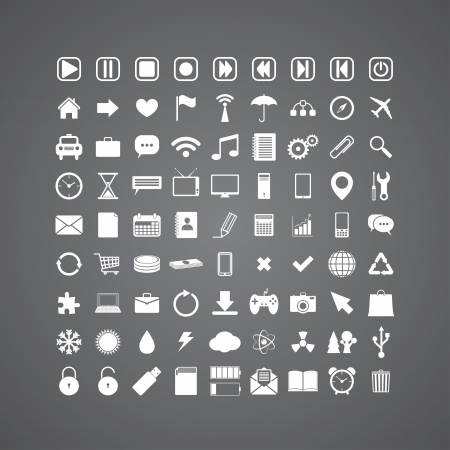set of 81 different media icons.  Vector