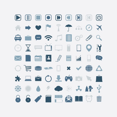smartphone apps: Business, web, mobile media icons. set of 81.