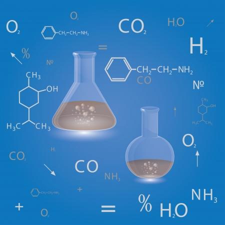 biology instruction: chemical flasks. scientific background.  Illustration