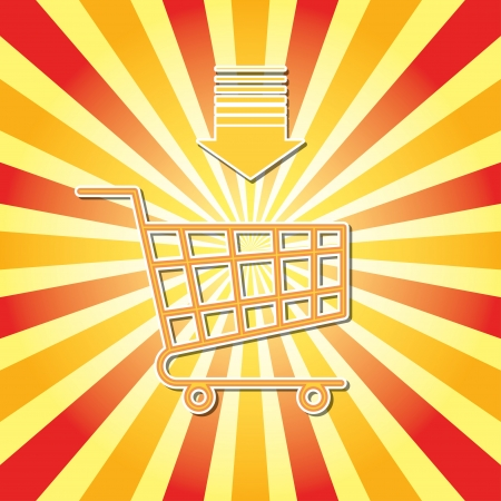 shopping cart. shine retro background.  Vector