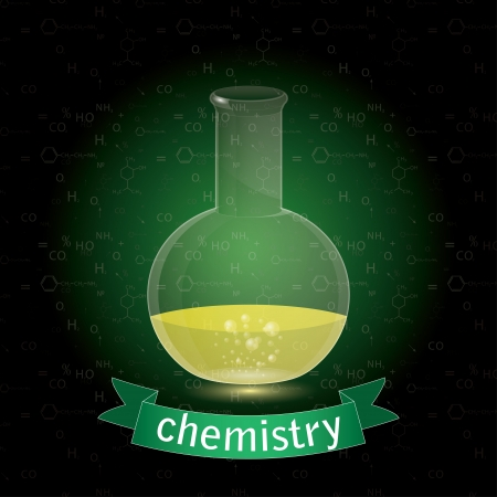 chemistry formula: subject of chemistry. chemical flask.