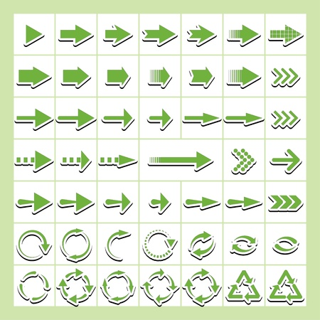 green arrows-stickers.   Stock Vector - 19658060