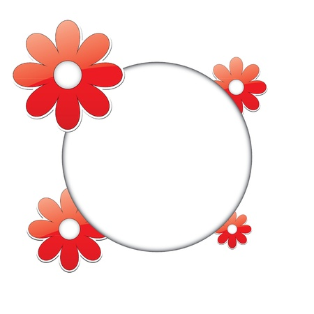 floral round frame for posts.   Vector