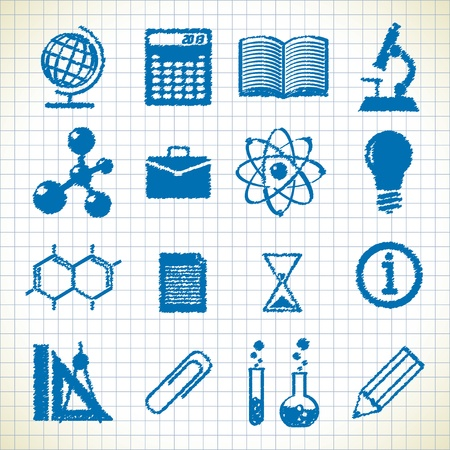 symbols of education. icons in the style of the sketch.  Illustration