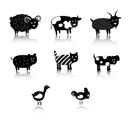 cock duck: silhouette of farm animals.