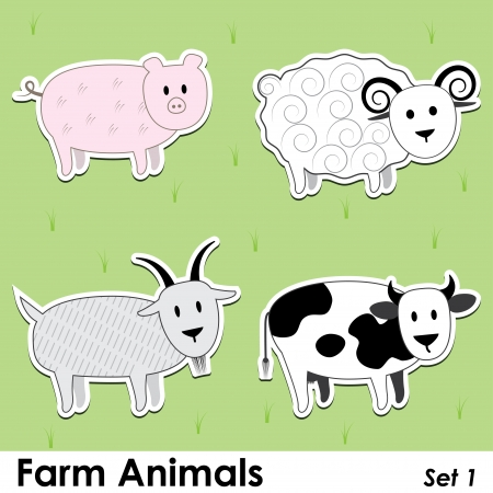 barnyard: farm animals: pig, cow, goat and sheep Illustration