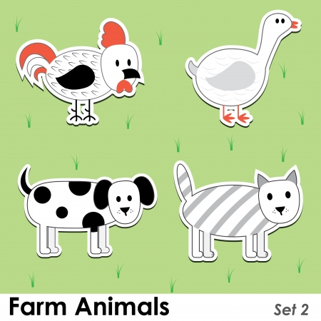 farm animals: cat, dog, cock, goose. Illustration