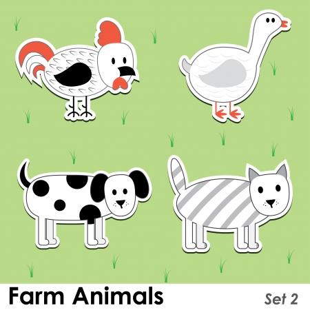 barnyard: farm animals: cat, dog, cock, goose. Illustration