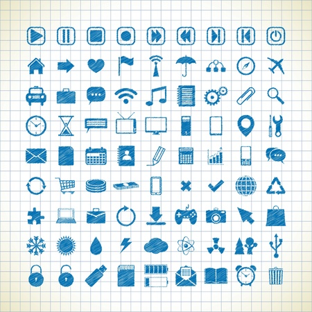 set of 81 different media icons in the style of the sketch. vector eps8 Stock Vector - 19914767