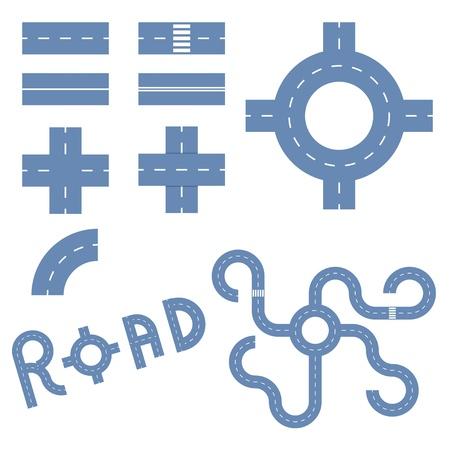 elements of the road. vector eps10 Иллюстрация