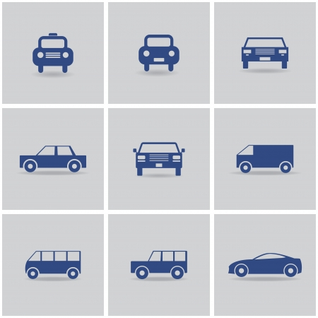 set of 9 icon cars. vector eps10 Vector