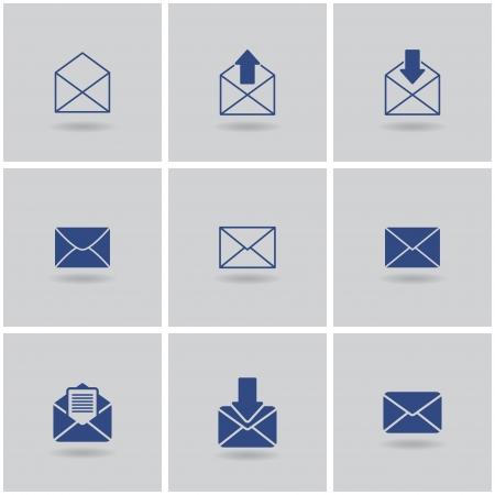 9 icons envelope. vector set. eps10 Vector