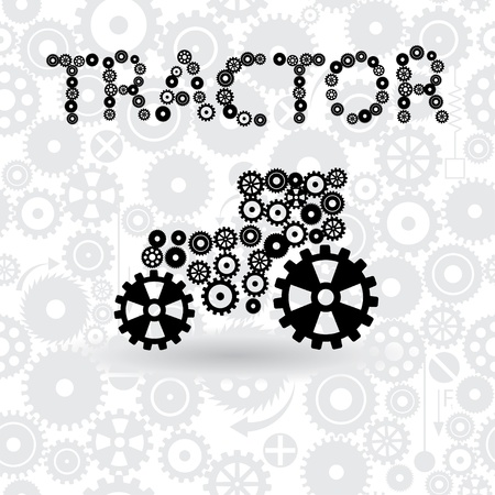 tractor. icon of tractor from gears. vector eps10 Vector