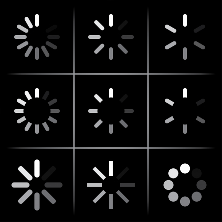 set of progress indicators on black. Vector