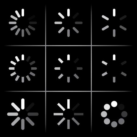 designator: set of progress indicators on black.