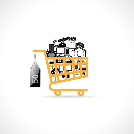 basket with shopping. Vector