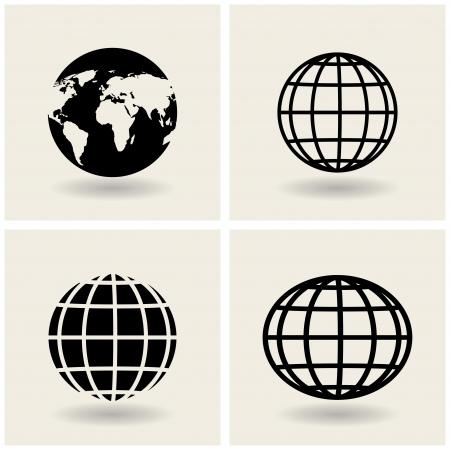 world map outline: icons globes.  Illustration