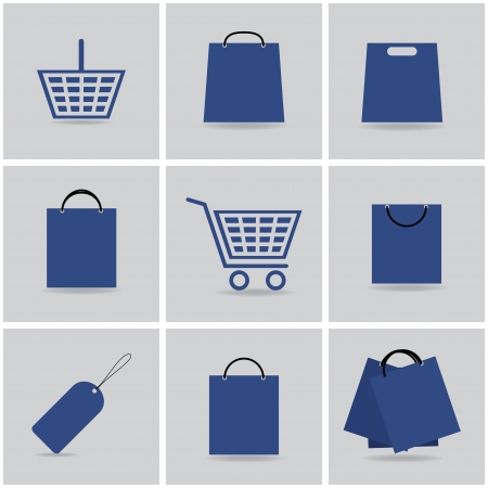 paper basket: shopping icons.