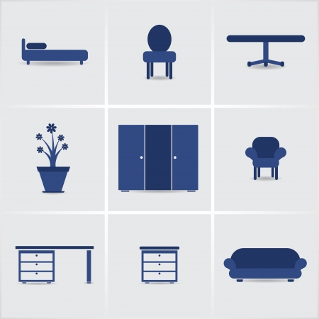 davenport: icons furnniture.  Illustration