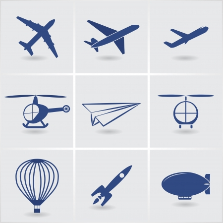 Conjunto De Transporte Aéreo De Dibujos Animados: Globo, Avión ...