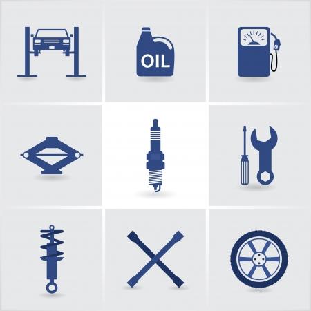 crane parts: Iconos de servicio de coche conjunto 1. Vectores