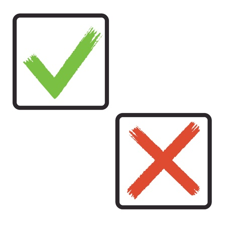 checkbox: drawing sign tick and cross in frame.