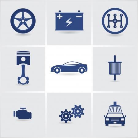 otomotiv: araba hizmeti simgeleri Çizim