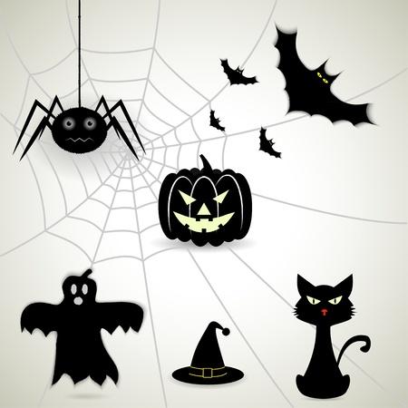 set of attributes Halloween. Vector