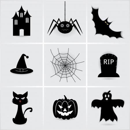 calabazas de halloween: conjunto de iconos de Halloween. Vectores