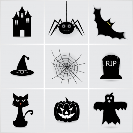 set iconen voor Halloween. Stock Illustratie