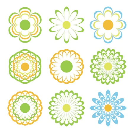 colored flowers.   Vector
